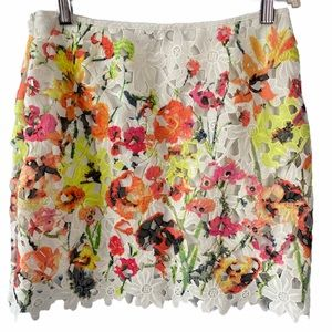 signature8 colorful floral lace overlay mini skirt